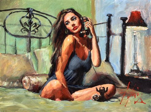 Black Phone II (Green Bedroom) by Fabian Perez - Original Painting on Stretched Canvas